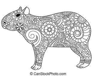 Capybara coloring vector for adults - Capybara book for...