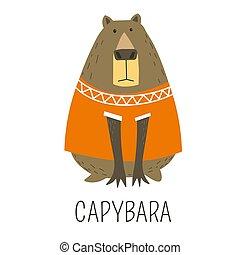 Capybara Hydrochoerinae family representative, mammal...