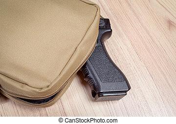 caqui, arma, arma de fuego, color, arena, plano de fondo,...