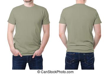 caqui, camisa, joven,  T, plantilla, hombre