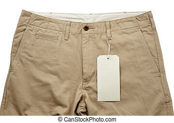 caqui, pantalones, con, tagging