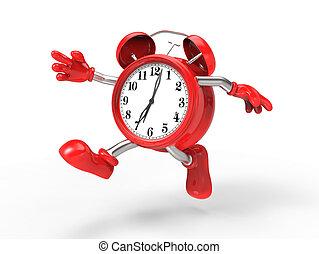 carácter, alarma, corra, reloj