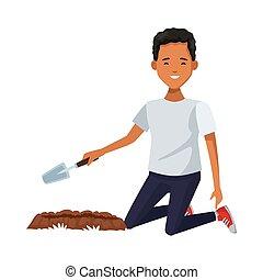 carácter, ambientalista, plantación, spatule, hombre