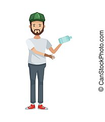 carácter, ambientalista, reciclaje, botella, hombre