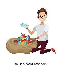 carácter, ambientalista, reciclaje, saco, botella, hombre