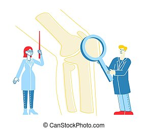 carácter, aumentar, vector, orthopedist, pierna, especialista, hospital, hueso, lineal, enfermera, ilustración, concilium., concept., gente, ortopedia, médico, inmenso, doctor, colegas, vidrio., atención sanitaria, señalar