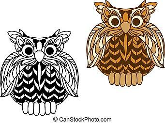 carácter, búho viejo sabio, águila, caricatura