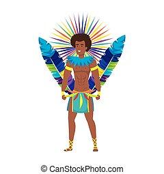 carácter, bailarín, macho, brasileño