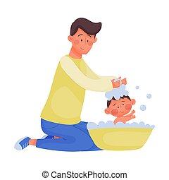 carácter, bebé, paternidad, vector, concepto, enfermería,...
