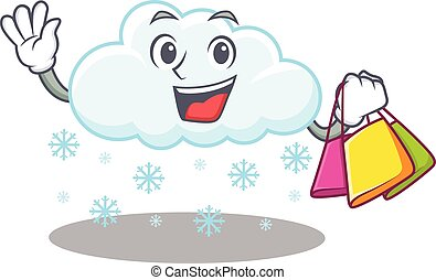 carácter, bolsas, rico, nube, tenencia, compras, caricatura...