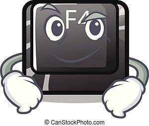 carácter, botón, f4, aislado, el smirking