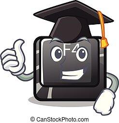 carácter, botón, f4, aislado, graduación