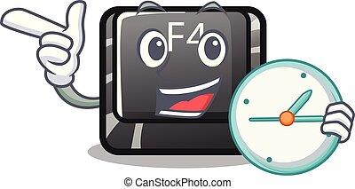 carácter, botón, f4, aislado, reloj
