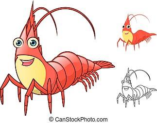 carácter, caricatura, camarón