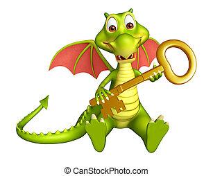carácter, caricatura, dragón, llave
