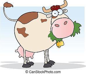 carácter, caricatura, granja, vaca