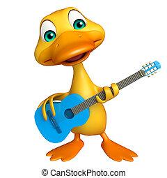 carácter, caricatura, guitarra, pato