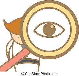 carácter, caricatura, hombre, buscando, magnifyer, utilizar