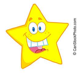 carácter, caricatura, mascota, estrella