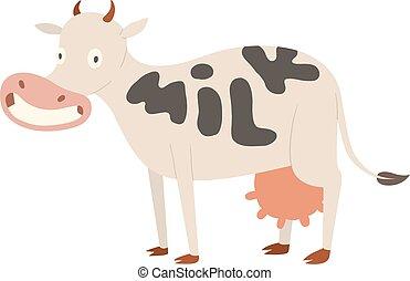 carácter, caricatura, vaca, aislado