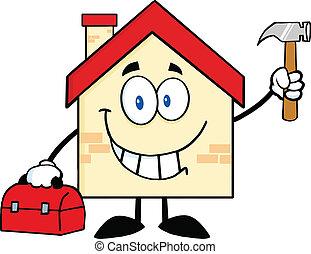 carácter, casa, trabajador