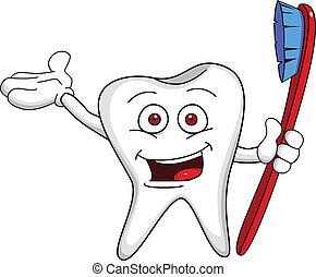 carácter, cepillo, diente
