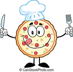 carácter, chef, caricatura, pizza, mascota