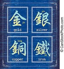 carácter chino, símbolo, sobre, meta