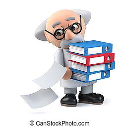 carácter, científico, el suyo, papeles, enojado, gotas, ...