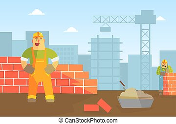 carácter, construcción, constructor, buiding, pared, ladrillo, plano, trabajador, macho, ilustración, vector