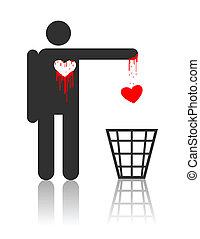 carácter, corazón, vector, sangriento
