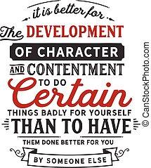 carácter, desarrollo