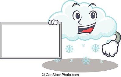 carácter, diseño, nevoso, nube, tabla, estilo, caricatura