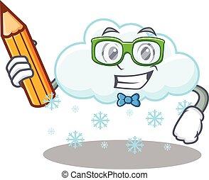 carácter, estudiante, nube, inteligente, anteojos, lápiz, ...