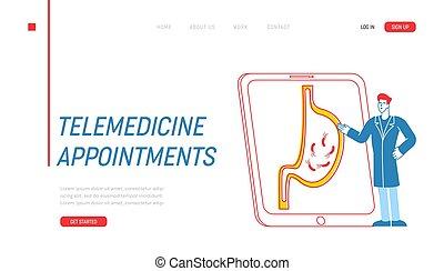 carácter, explicar, gastritis, vector, causas, médico, síntomas, microbios, lineal, template., ilustración, pantalla, aterrizaje, tablet., helicobacter, página, inmenso, doctor, gastroenterologist, presentación, estómago