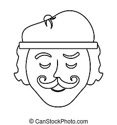 carácter, frenchman, caricatura