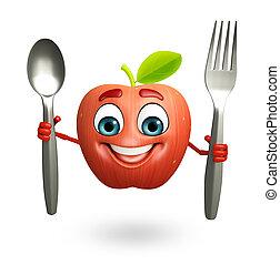 carácter, fruta, manzana, caricatura, cuchara