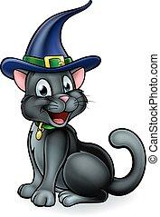 carácter, gato, negro, sombrero de las brujas, caricatura
