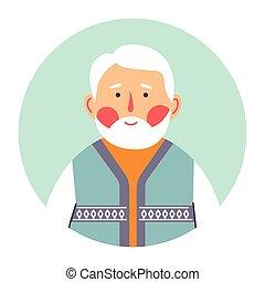 carácter, gris, retrato, pelo, mayor masculino, aduelo