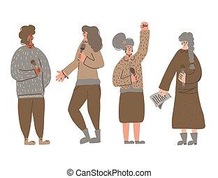 carácter, grupo, lindo, mujer, altavoces, vector, orators