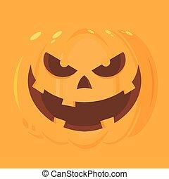 carácter, halloween, mal, cara, emoji, caricatura, calabaza