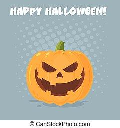 carácter, halloween, mal, cara, emoji, expresión, caricatura, calabaza