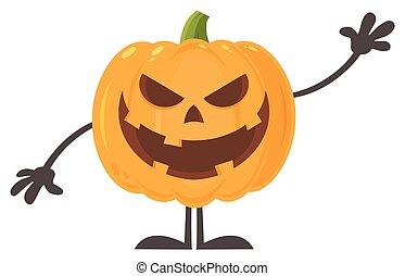 carácter, halloween, saludo, mal, ondulación, sonriente, emoji, caricatura, calabaza