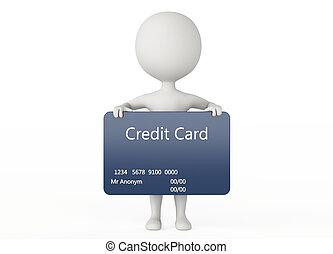 carácter, humanoide, credito, asimiento, tarjeta, 3d