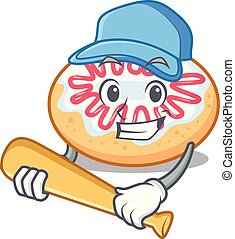 carácter, jalea, caricatura, rosquilla, beisball, juego