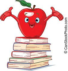 carácter, libros, manzana, pila