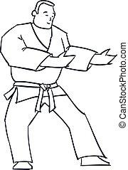 carácter, mano, vector, kimono., dibujado, hombre