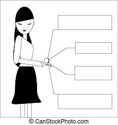 carácter, mujer de negocios, aislado, blanco, plano de fondo