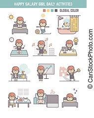 carácter, niña, rutina, caricatura, vida, feliz, diario, sueldo