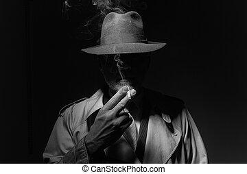 carácter, noir, película, cigarrillo humeante
